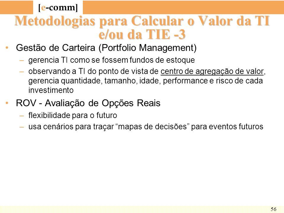 [ e-comm ] 56 Metodologias para Calcular o Valor da TI e/ou da TIE -3 Gestão de Carteira (Portfolio Management) –gerencia TI como se fossem fundos de