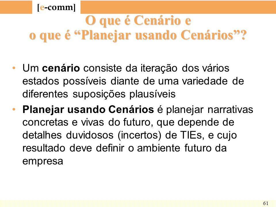 [ e-comm ] 61 O que é Cenário e o que é Planejar usando Cenários? Um cenário consiste da iteração dos vários estados possíveis diante de uma variedade