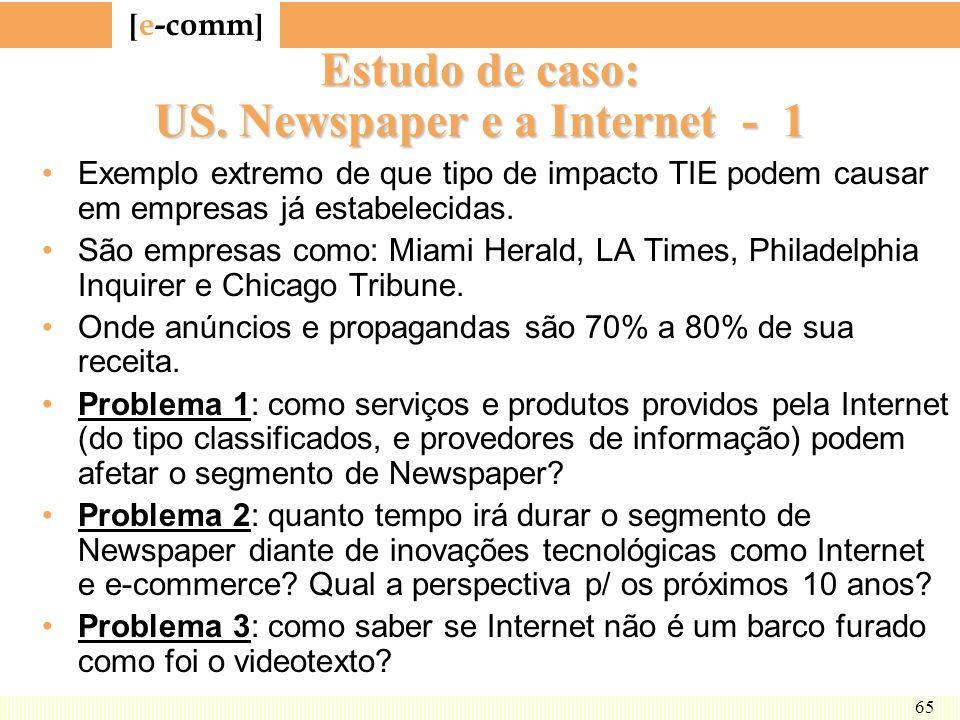 [ e-comm ] 65 Estudo de caso: US. Newspaper e a Internet - 1 Exemplo extremo de que tipo de impacto TIE podem causar em empresas já estabelecidas. São