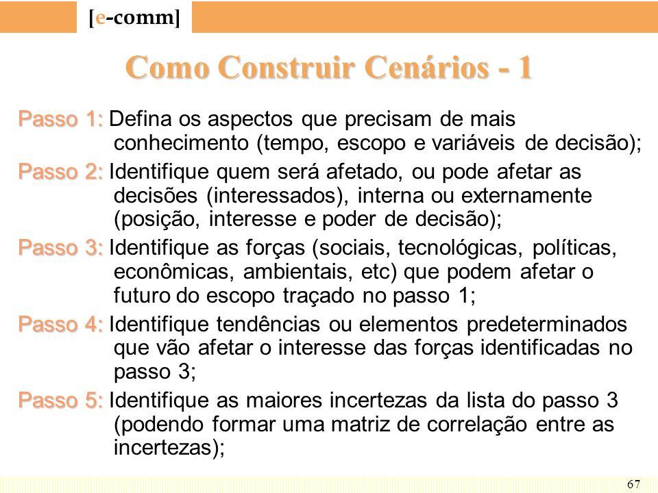 [ e-comm ] 67 Como Construir Cenários - 1 Passo 1: Passo 1: Defina os aspectos que precisam de mais conhecimento (tempo, escopo e variáveis de decisão