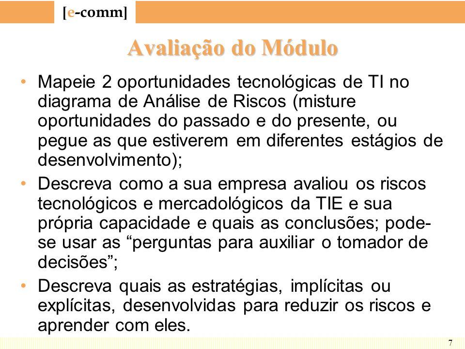 [ e-comm ] 7 Avaliação do Módulo Mapeie 2 oportunidades tecnológicas de TI no diagrama de Análise de Riscos (misture oportunidades do passado e do pre