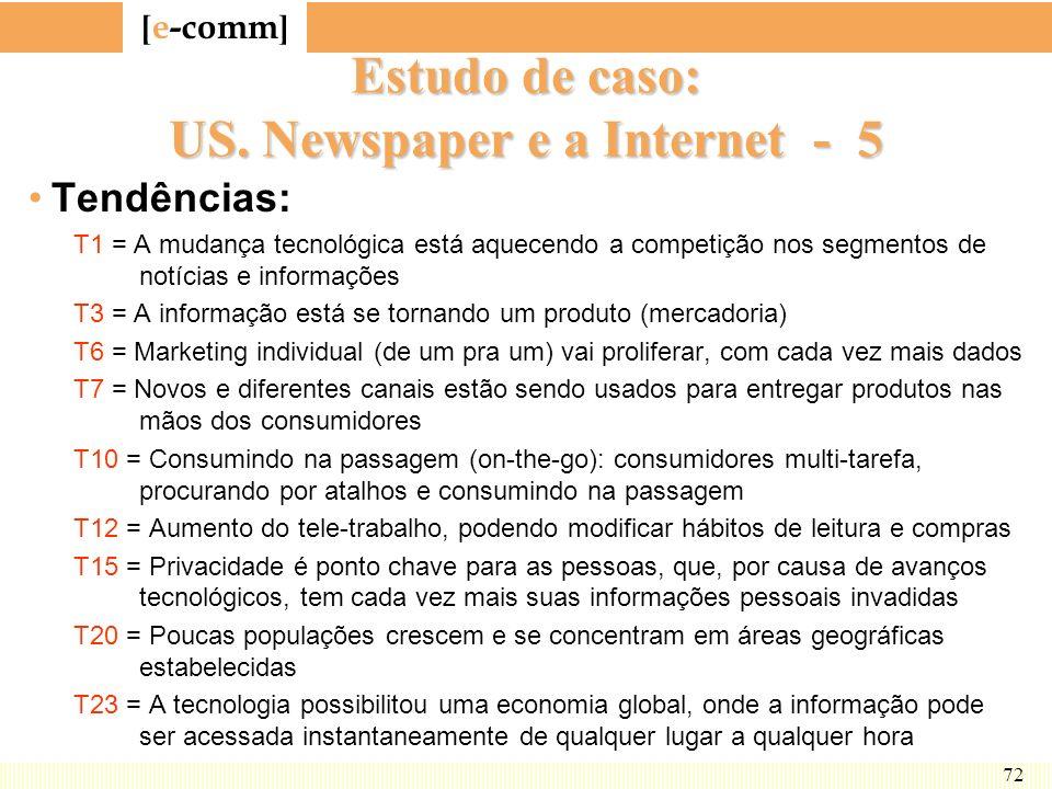 [ e-comm ] 72 Estudo de caso: US. Newspaper e a Internet - 5 Tendências: T1 = A mudança tecnológica está aquecendo a competição nos segmentos de notíc