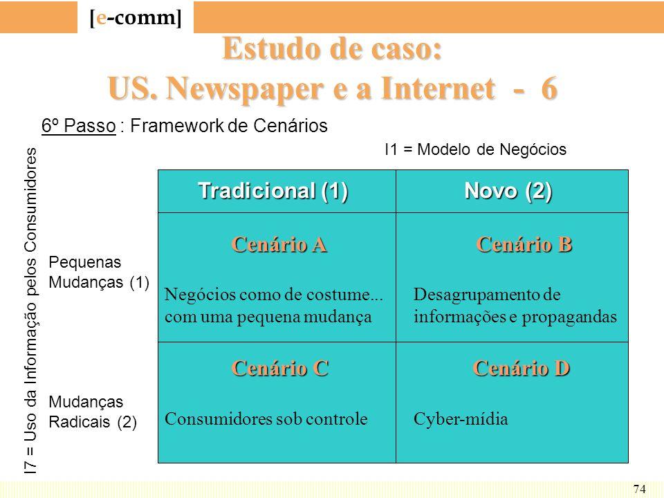 [ e-comm ] 74 Estudo de caso: US. Newspaper e a Internet - 6 Tradicional (1) Novo (2) Cenário A Cenário B Negócios como de costume...Desagrupamento de