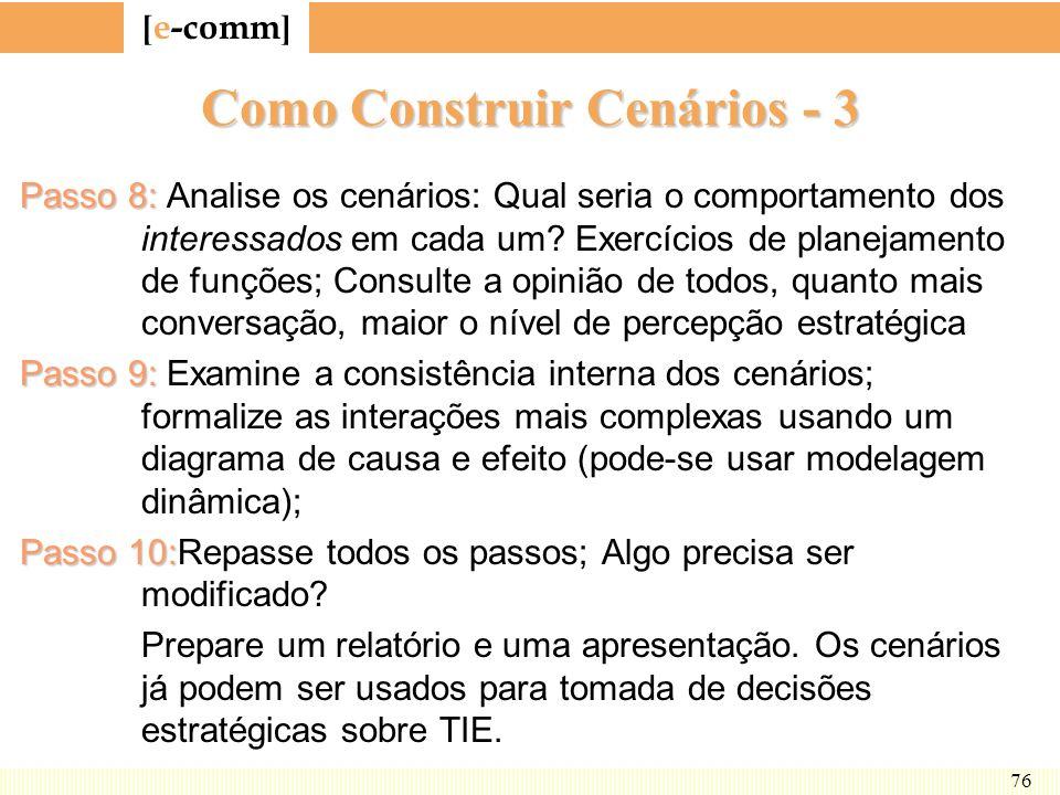 [ e-comm ] 76 Como Construir Cenários - 3 Passo 8: Passo 8: Analise os cenários: Qual seria o comportamento dos interessados em cada um? Exercícios de