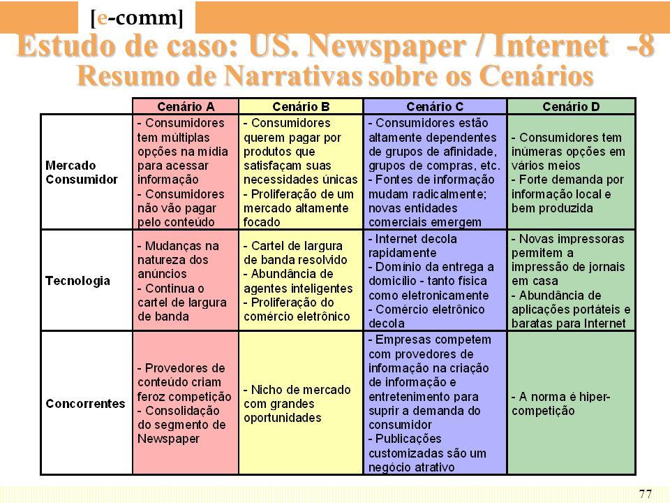 [ e-comm ] 77 Estudo de caso: US. Newspaper / Internet -8 Resumo de Narrativas sobre os Cenários