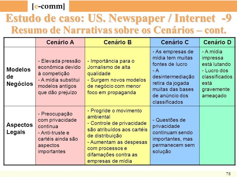 [ e-comm ] 78 Estudo de caso: US. Newspaper / Internet -9 Resumo de Narrativas sobre os Cenários – cont. Cenário ACenário BCenário CCenário D Modelos