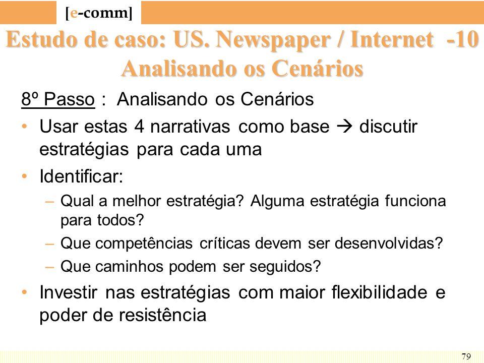 [ e-comm ] 79 Estudo de caso: US. Newspaper / Internet -10 Analisando os Cenários 8º Passo : Analisando os Cenários Usar estas 4 narrativas como base
