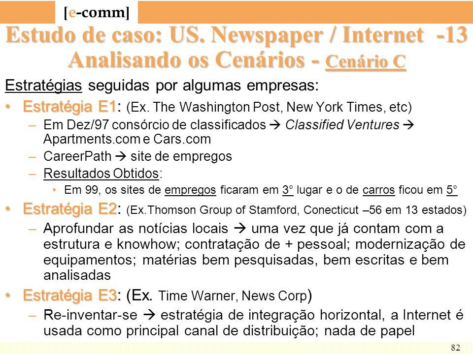 [ e-comm ] 82 Estudo de caso: US. Newspaper / Internet -13 Analisando os Cenários - Cenário C Estratégias seguidas por algumas empresas: EstratégiaE1E