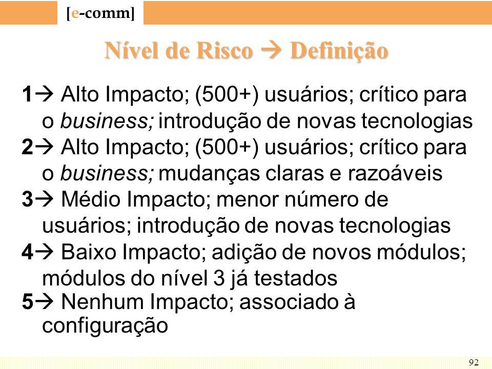 [ e-comm ] 92 Nível de Risco Definição 1 Alto Impacto; (500+) usuários; crítico para o business; introdução de novas tecnologias 2 Alto Impacto; (500+