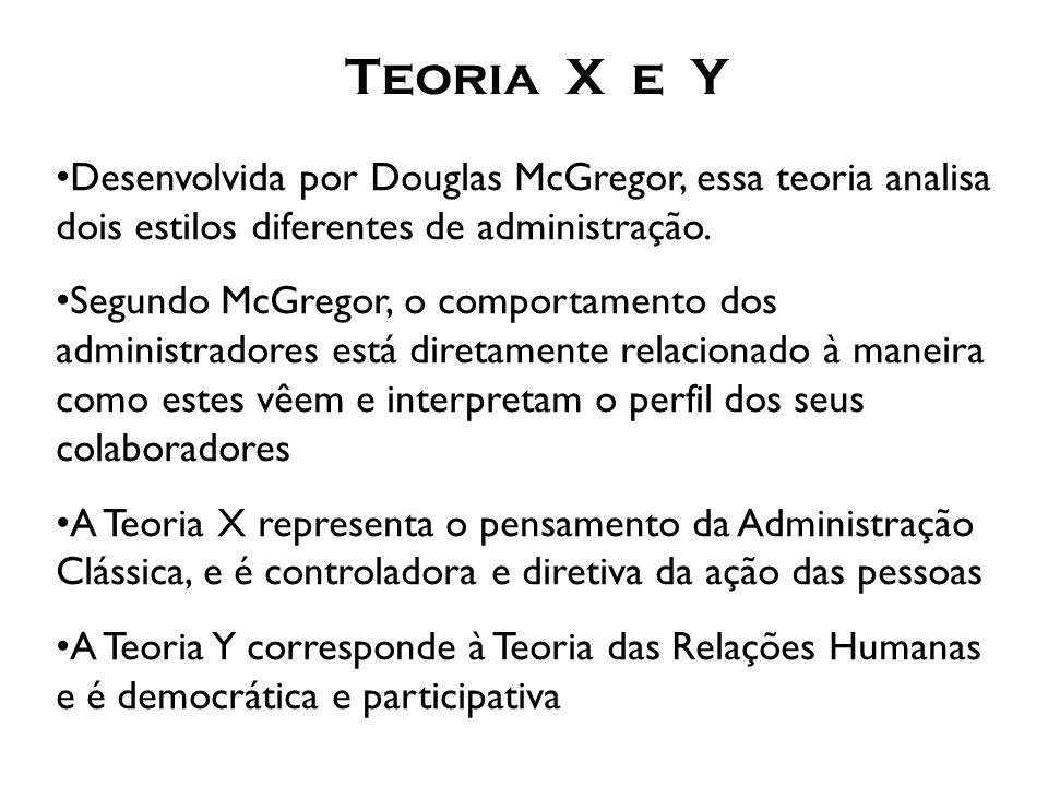 Teoria X e Y Desenvolvida por Douglas McGregor, essa teoria analisa dois estilos diferentes de administração.