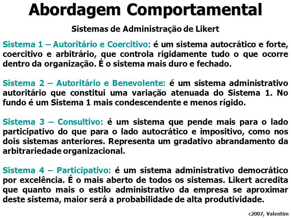 Abordagem Comportamental Sistemas de Administração de Likert Sistema 1 – Autoritário e Coercitivo: é um sistema autocrático e forte, coercitivo e arbitrário, que controla rigidamente tudo o que ocorre dentro da organização.
