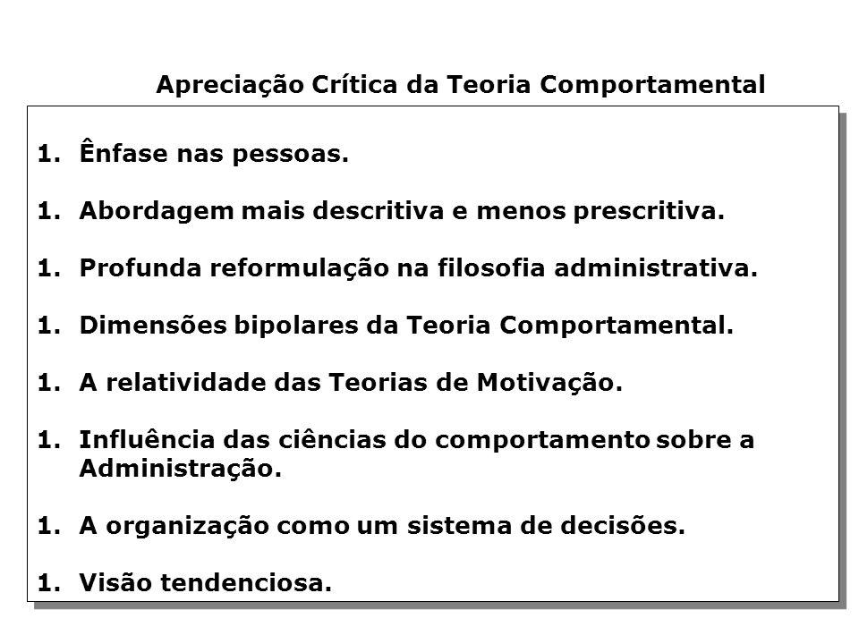 Apreciação Crítica da Teoria Comportamental 1.Ênfase nas pessoas.