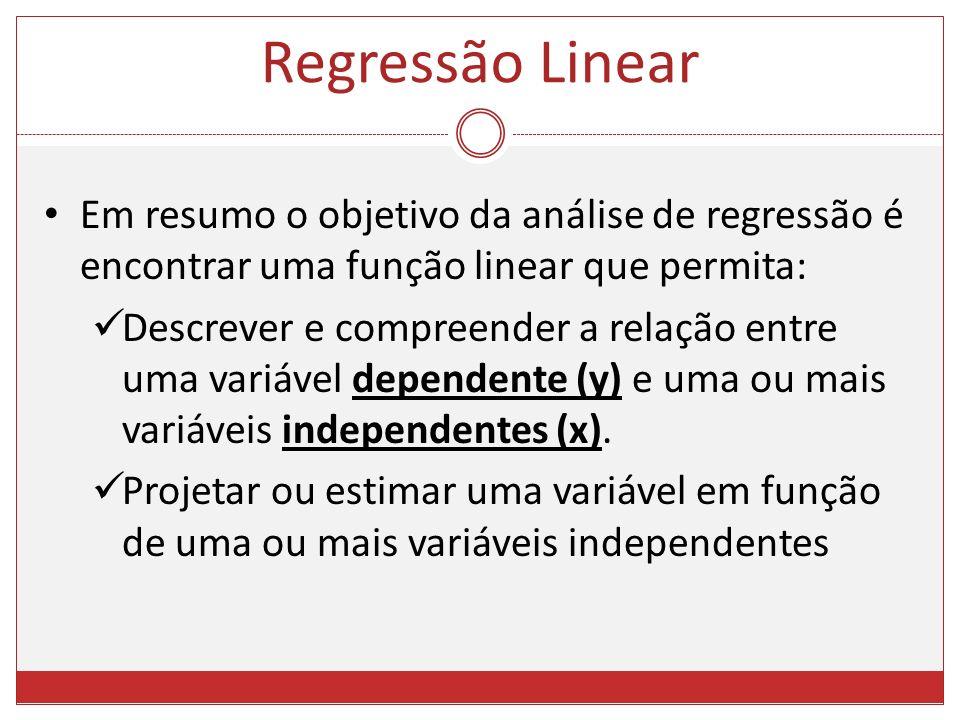 Em resumo o objetivo da análise de regressão é encontrar uma função linear que permita: Descrever e compreender a relação entre uma variável dependent