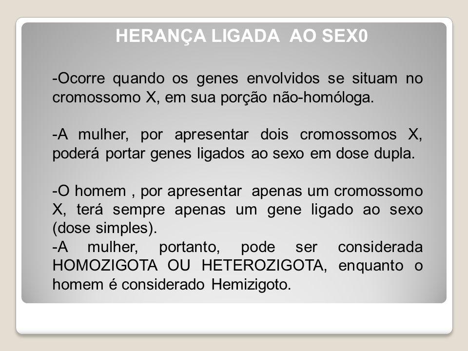HERANÇA LIGADA AO SEX0 -Ocorre quando os genes envolvidos se situam no cromossomo X, em sua porção não-homóloga. -A mulher, por apresentar dois cromos