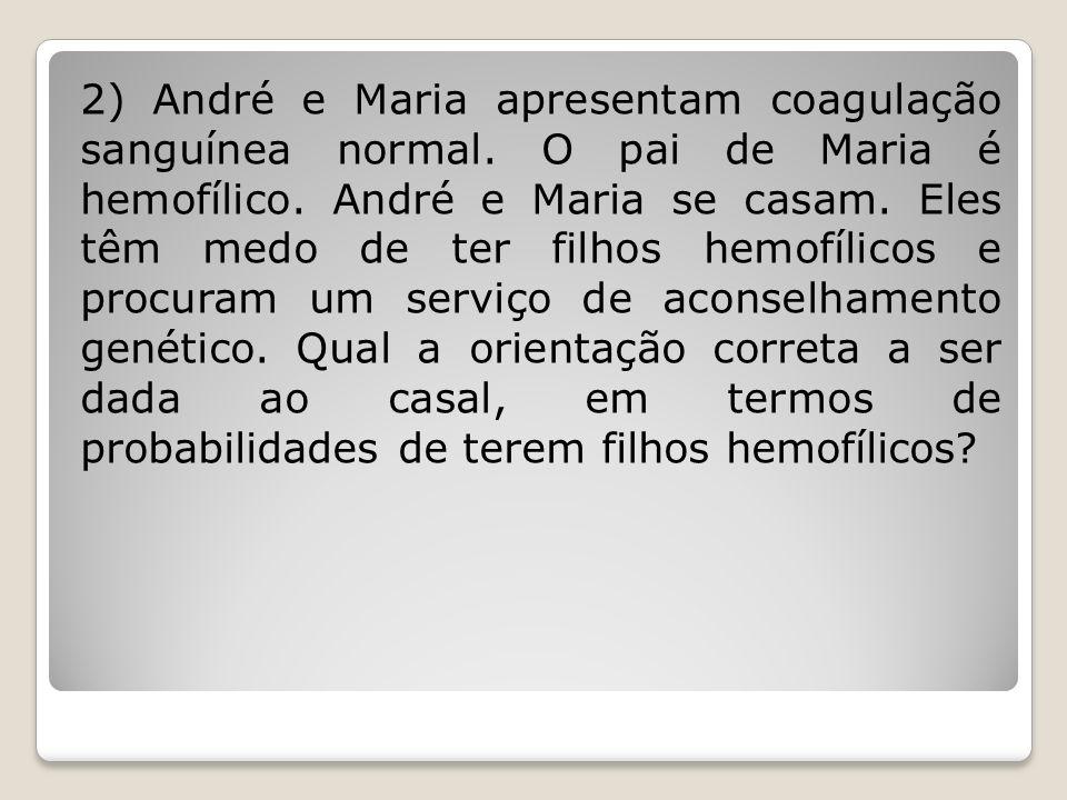 2) André e Maria apresentam coagulação sanguínea normal. O pai de Maria é hemofílico. André e Maria se casam. Eles têm medo de ter filhos hemofílicos