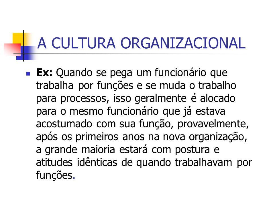 A CULTURA ORGANIZACIONAL Ex: Quando se pega um funcionário que trabalha por funções e se muda o trabalho para processos, isso geralmente é alocado par
