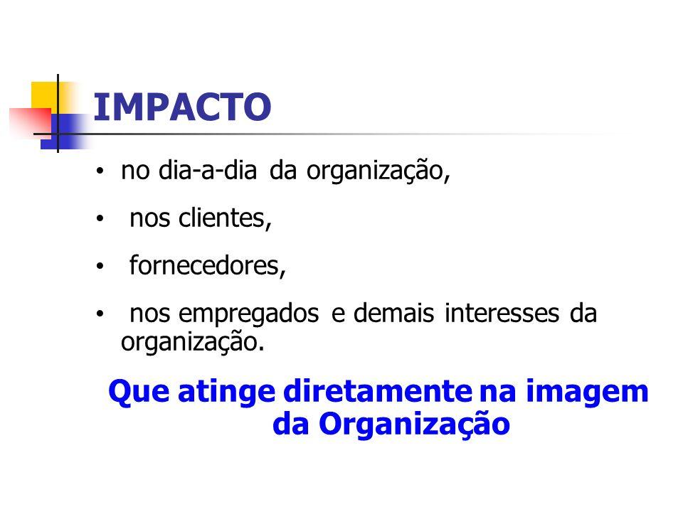 IMPACTO no dia-a-dia da organização, nos clientes, fornecedores, nos empregados e demais interesses da organização. Que atinge diretamente na imagem d