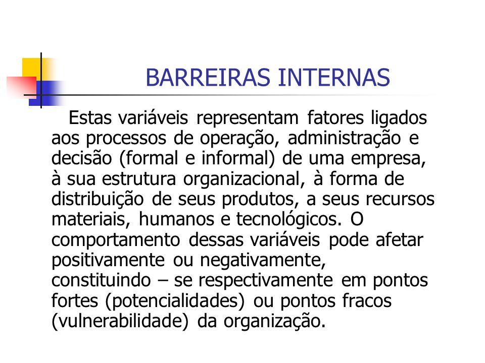 BARREIRAS INTERNAS Estas variáveis representam fatores ligados aos processos de operação, administração e decisão (formal e informal) de uma empresa,
