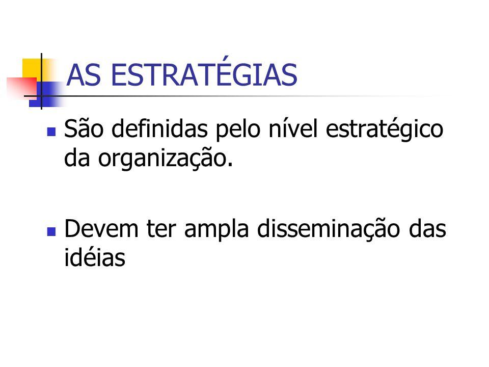 AS ESTRATÉGIAS São definidas pelo nível estratégico da organização. Devem ter ampla disseminação das idéias