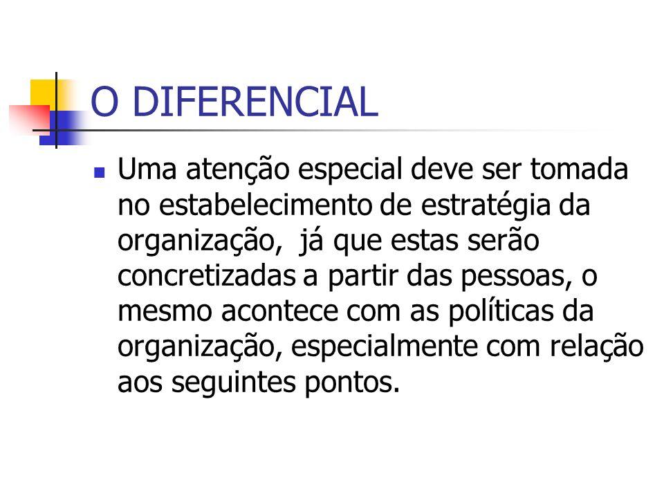 O DIFERENCIAL Uma atenção especial deve ser tomada no estabelecimento de estratégia da organização, já que estas serão concretizadas a partir das pess