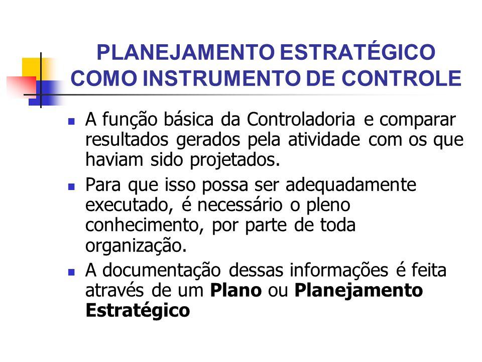 PLANEJAMENTO ESTRATÉGICO COMO INSTRUMENTO DE CONTROLE A função básica da Controladoria e comparar resultados gerados pela atividade com os que haviam