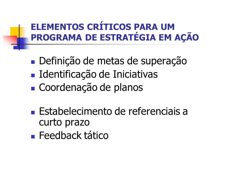 ELEMENTOS CRÍTICOS PARA UM PROGRAMA DE ESTRATÉGIA EM AÇÃO Definição de metas de superação Identificação de Iniciativas Coordenação de planos Estabelec