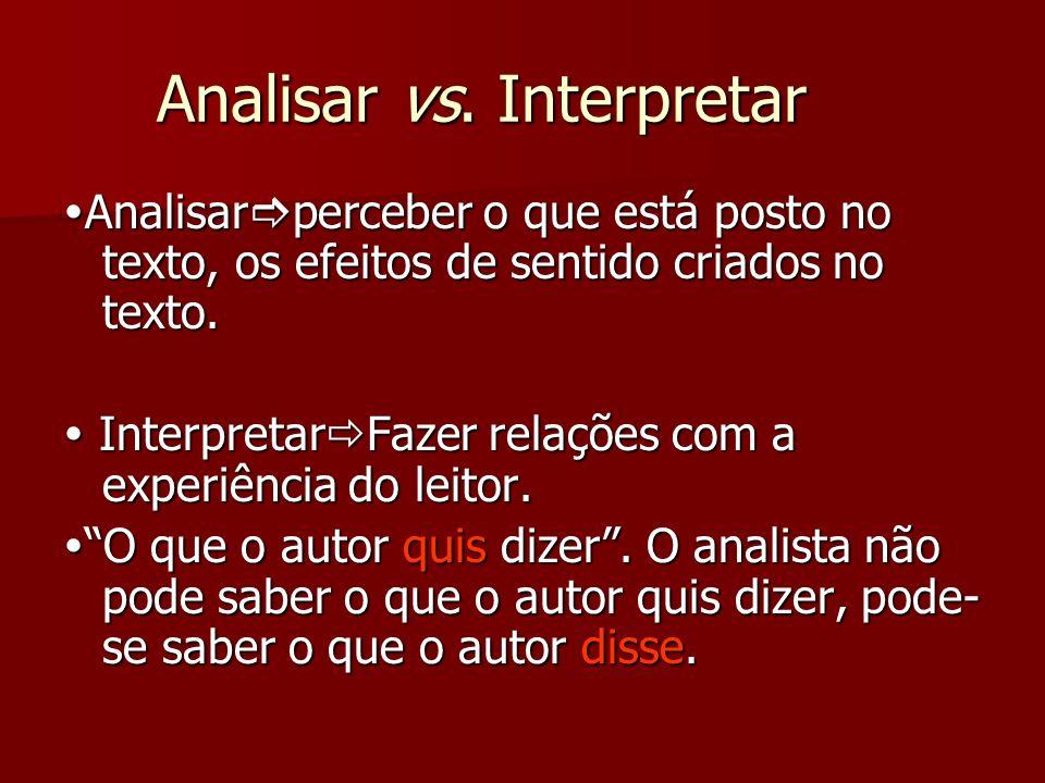 Analisar vs. Interpretar Analisar perceber o que está posto no texto, os efeitos de sentido criados no texto. Analisar perceber o que está posto no te