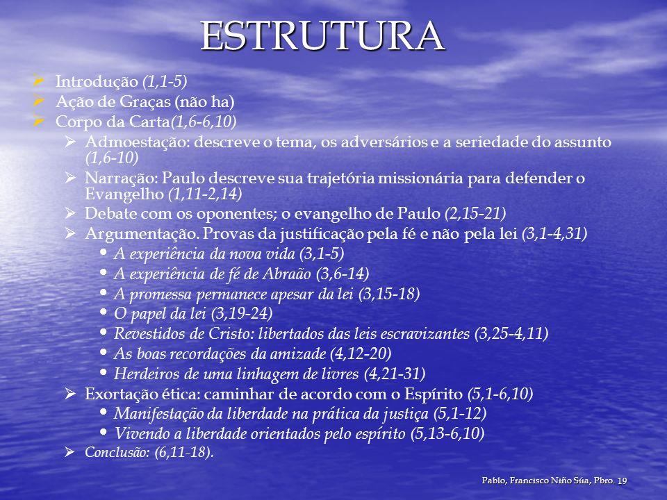 Pablo, Francisco Niño Súa, Pbro. 19 ESTRUTURA Introdução (1,1-5) Ação de Graças (não ha) Corpo da Carta (1,6-6,10) Admoestação: descreve o tema, os ad