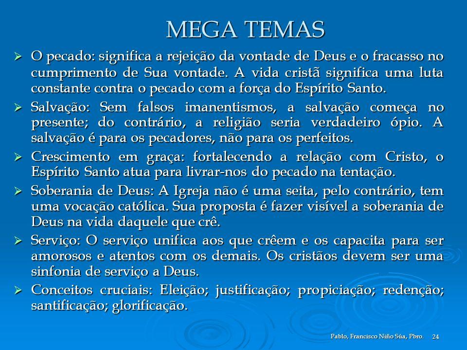 Pablo, Francisco Niño Súa, Pbro. 24 MEGA TEMAS O pecado: significa a rejeição da vontade de Deus e o fracasso no cumprimento de Sua vontade. A vida cr
