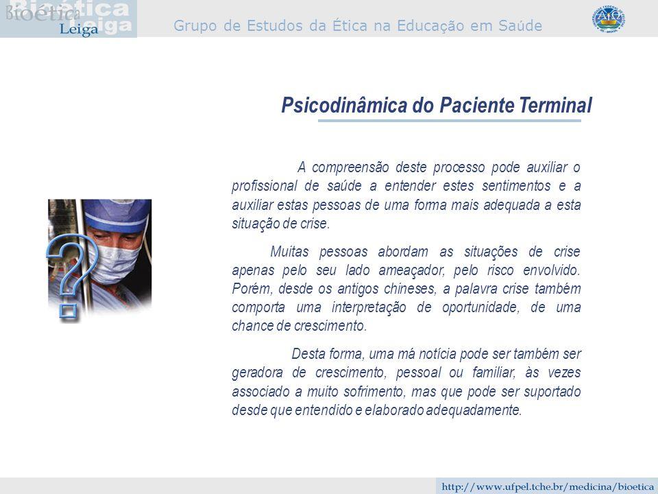 Grupo de Estudos da É tica na Educa çã o em Sa ú de Psicodinâmica do Paciente Terminal A compreensão deste processo pode auxiliar o profissional de sa