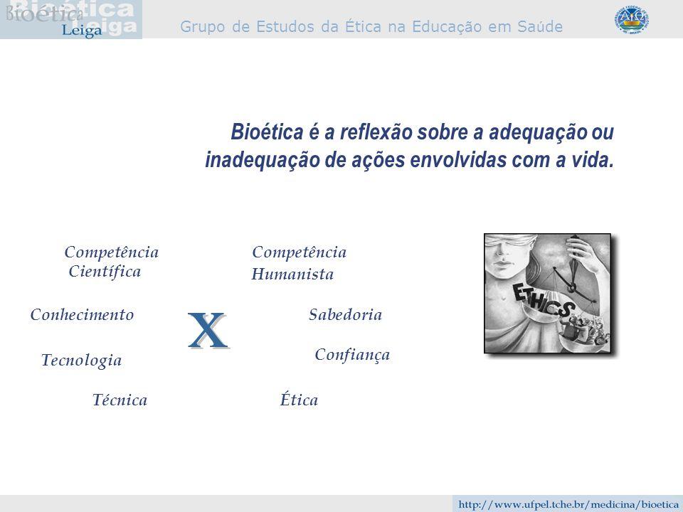Grupo de Estudos da É tica na Educa çã o em Sa ú de Bioética é a reflexão sobre a adequação ou inadequação de ações envolvidas com a vida. Competência