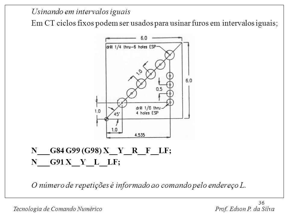 36 Usinando em intervalos iguais Em CT ciclos fixos podem ser usados para usinar furos em intervalos iguais; N___G84 G99 (G98) X__Y__R__F__LF; N___G91