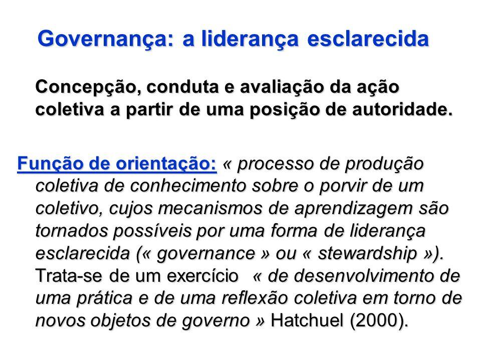 Governança: a liderança esclarecida Concepção, conduta e avaliação da ação coletiva a partir de uma posição de autoridade. Função de orientação: « pro