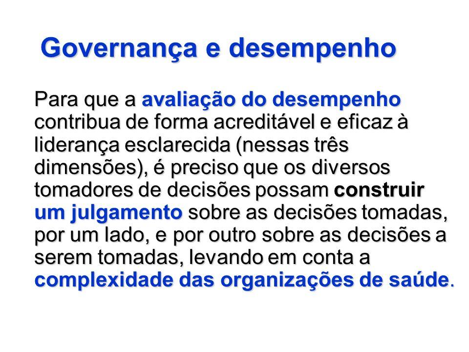 Governança e desempenho Para que a avaliação do desempenho contribua de forma acreditável e eficaz à liderança esclarecida (nessas três dimensões), é