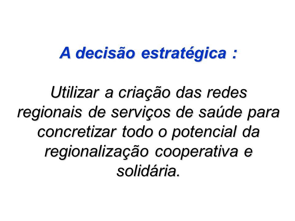 A decisão estratégica : Utilizar a criação das redes regionais de serviços de saúde para concretizar todo o potencial da regionalização cooperativa e