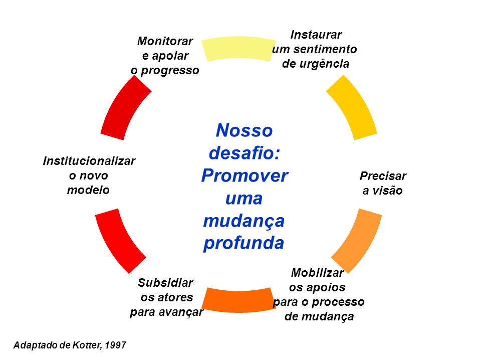Instaurar um sentimento de urgência Institucionalizar o novo modelo Monitorar e apoiar o progresso Precisar a visão Mobilizar os apoios para o process