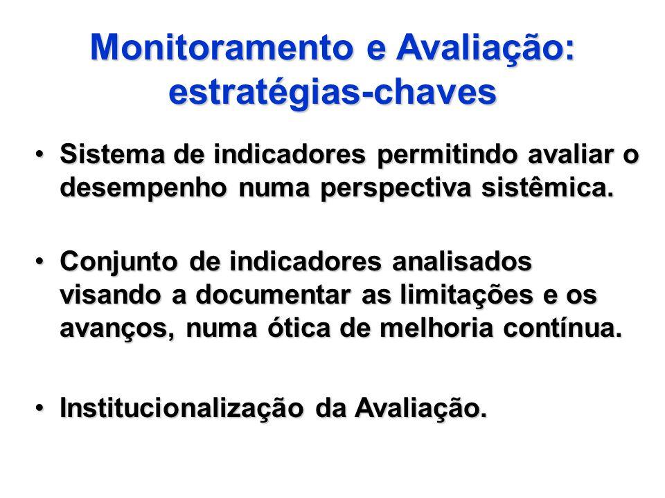 Monitoramento e Avaliação: estratégias-chaves Sistema de indicadores permitindo avaliar o desempenho numa perspectiva sistêmica.Sistema de indicadores