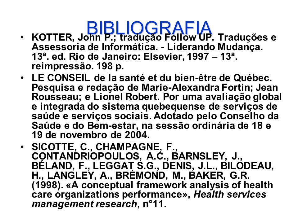 BIBLIOGRAFIA KOTTER, John P.; tradução Follow UP. Traduções e Assessoria de Informática. - Liderando Mudança. 13ª. ed. Rio de Janeiro: Elsevier, 1997