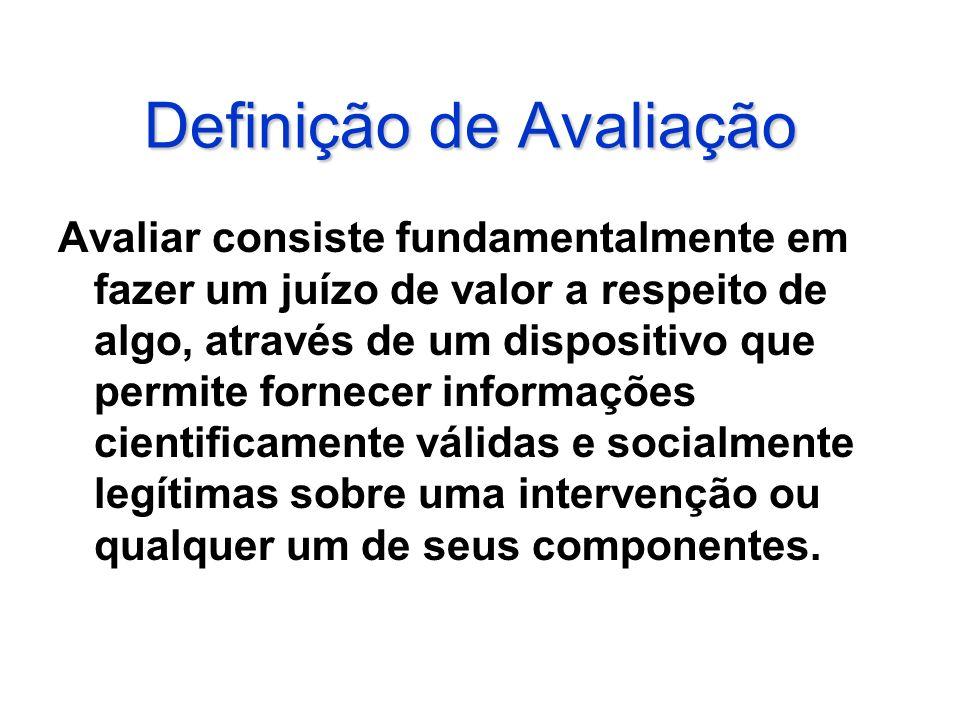 Definição de Avaliação Avaliar consiste fundamentalmente em fazer um juízo de valor a respeito de algo, através de um dispositivo que permite fornecer