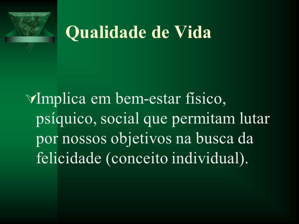 Qualidade de Vida Implica em bem-estar físico, psíquico, social que permitam lutar por nossos objetivos na busca da felicidade (conceito individual).