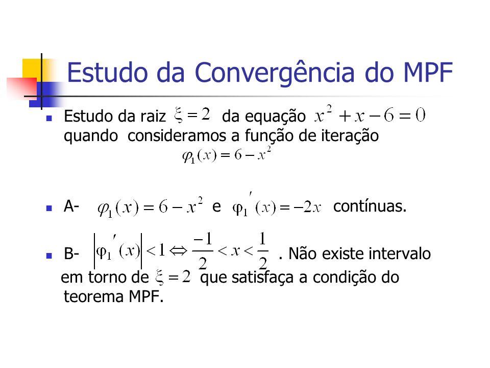 Estudo da Convergência do MPF Estudo da raiz da equação quando consideramos a função de iteração A- e contínuas. B-. Não existe intervalo em torno de