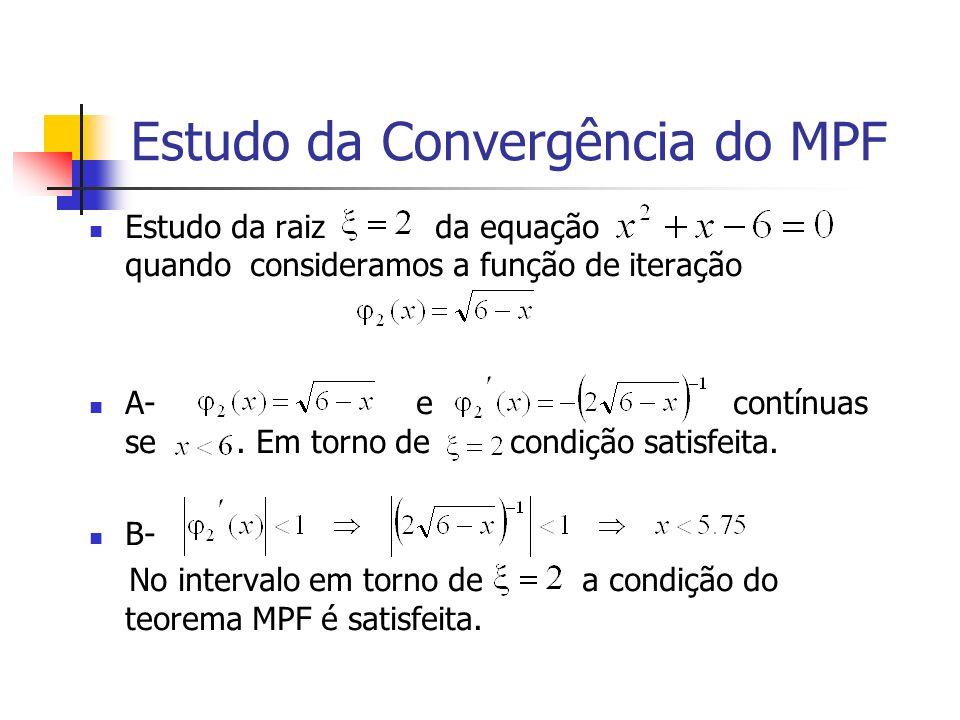 Estudo da Convergência do MPF Estudo da raiz da equação quando consideramos a função de iteração A- e contínuas se. Em torno de condição satisfeita. B