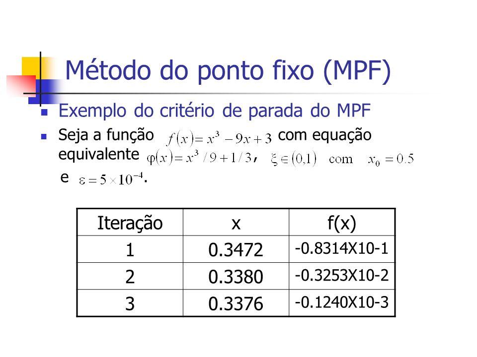 Método do ponto fixo (MPF) Exemplo do critério de parada do MPF Seja a função com equação equivalente, e. Iteraçãoxf(x) 10.3472 -0.8314X10-1 20.3380 -