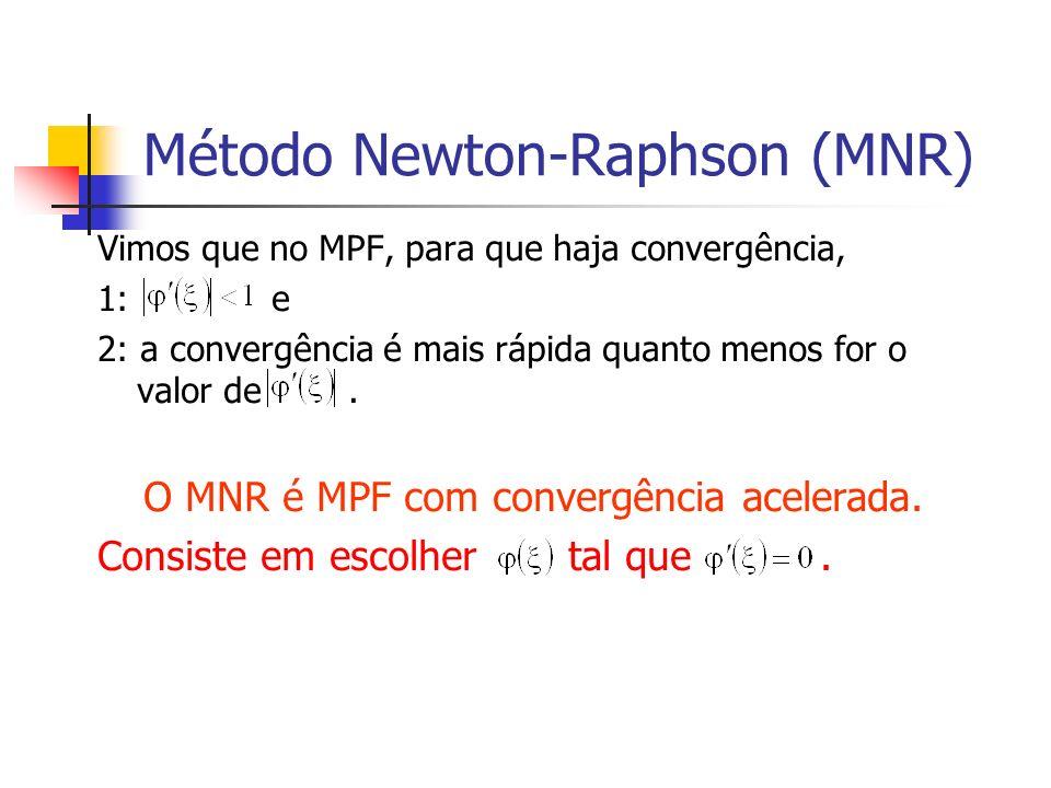 Método Newton-Raphson (MNR) Vimos que no MPF, para que haja convergência, 1: e 2: a convergência é mais rápida quanto menos for o valor de. O MNR é MP