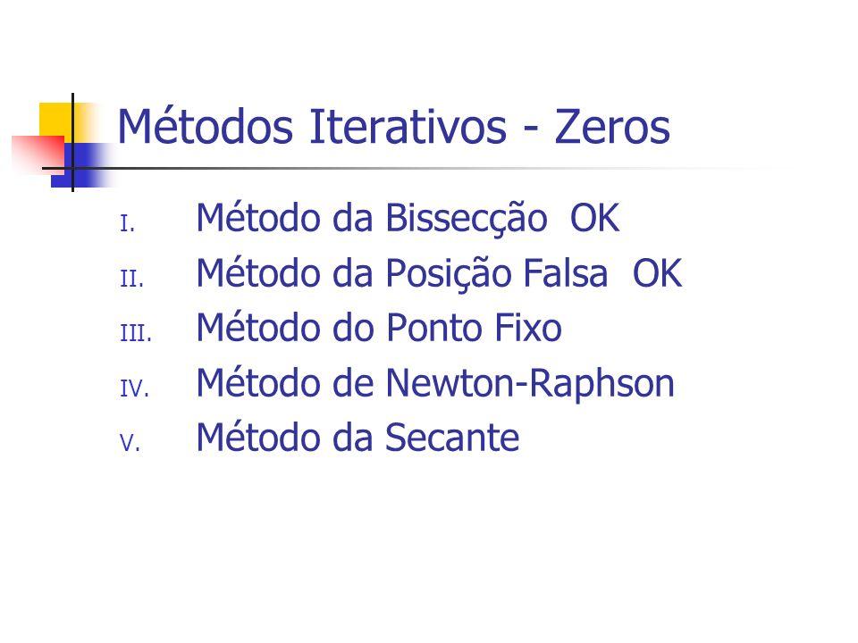 Métodos Iterativos - Zeros I. Método da Bissecção OK II. Método da Posição Falsa OK III. Método do Ponto Fixo IV. Método de Newton-Raphson V. Método d