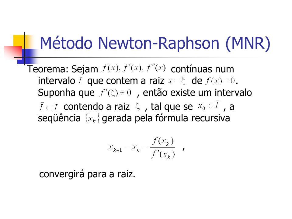 Método Newton-Raphson (MNR) Teorema: Sejam contínuas num intervalo que contem a raiz de. Suponha que, então existe um intervalo contendo a raiz, tal q