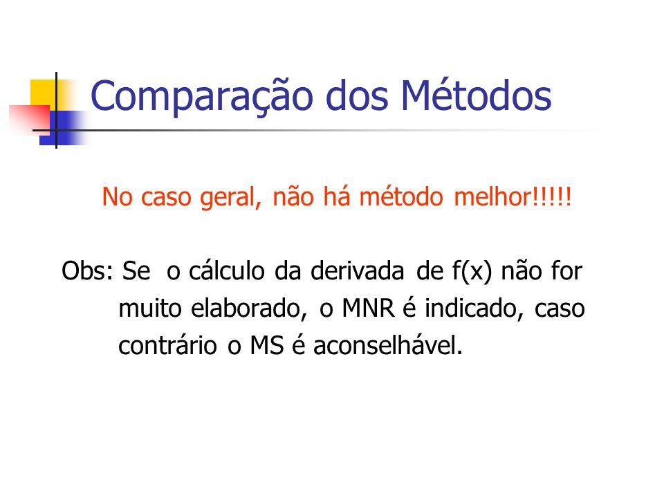 Comparação dos Métodos No caso geral, não há método melhor!!!!! Obs: Se o cálculo da derivada de f(x) não for muito elaborado, o MNR é indicado, caso