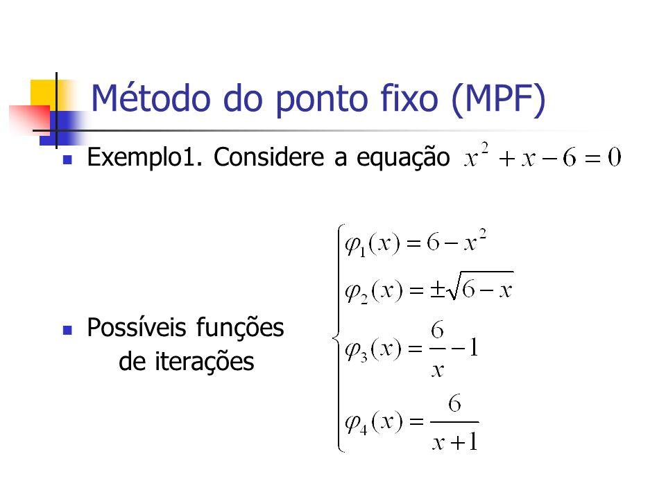 Método do ponto fixo (MPF) Critérios de Parada do MPF Critério 1: Critério2: