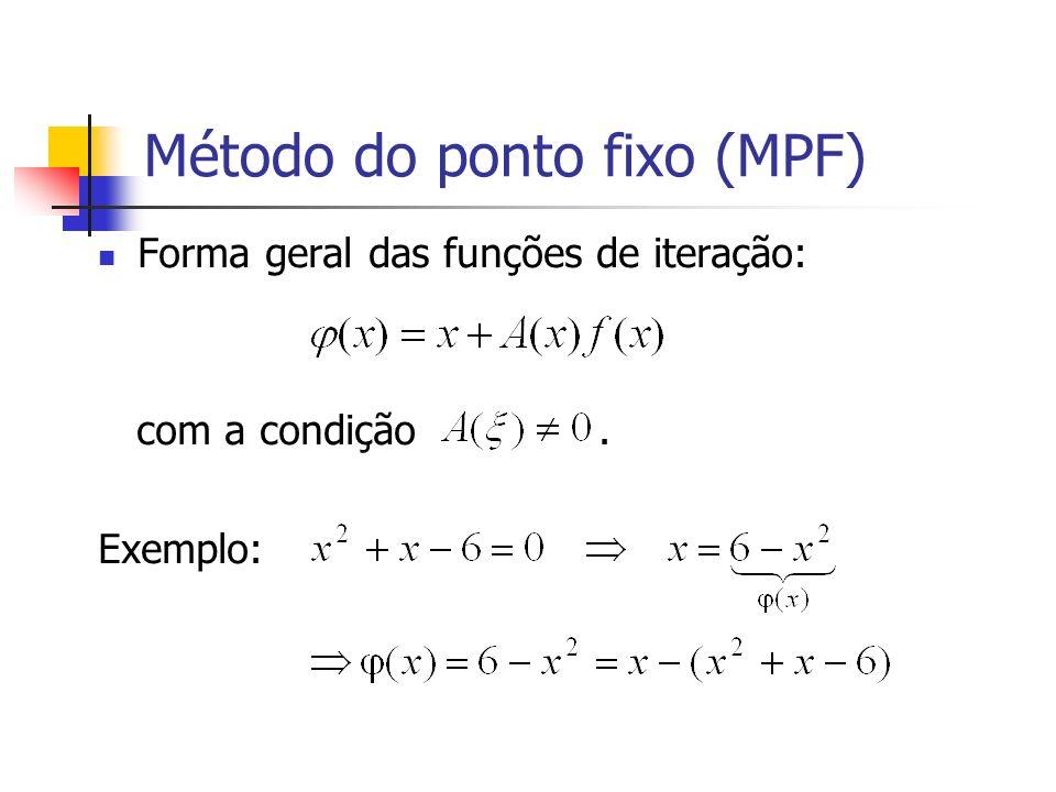 Método do ponto fixo (MPF) Forma geral das funções de iteração: com a condição. Exemplo: