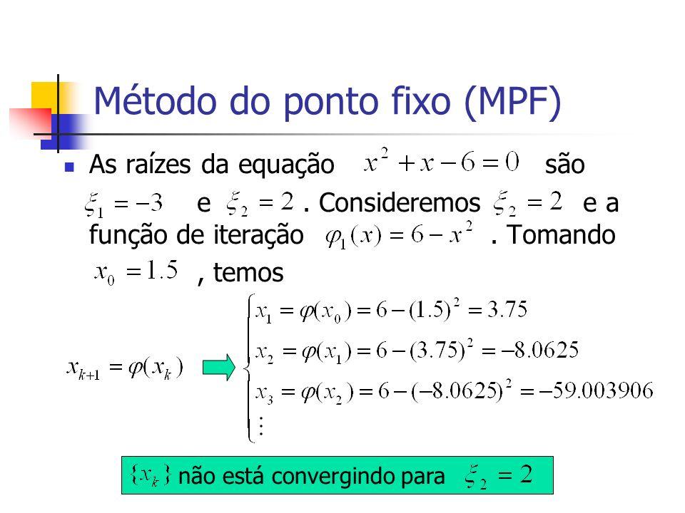 Método do ponto fixo (MPF) As raízes da equação são e. Consideremos e a função de iteração. Tomando, temos não está convergindo para